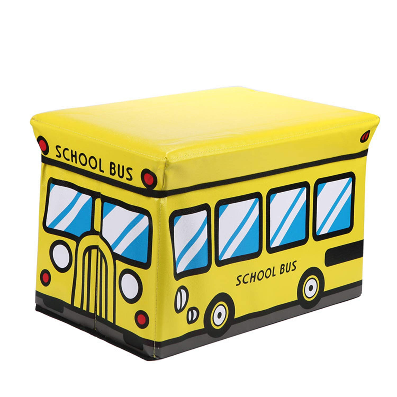 QYQCX Cartoon Bus Storage Box, Foldable PU Leather Footstool, Kids Toy Organizer A