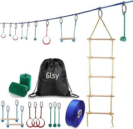 Kids Swinging Obstacle Course Set N//I Ninja Slackline Monkey Bar Kit Ninja Warrior Line Balance Trainer Rope Slackers Intro Kit Sport Outdoor
