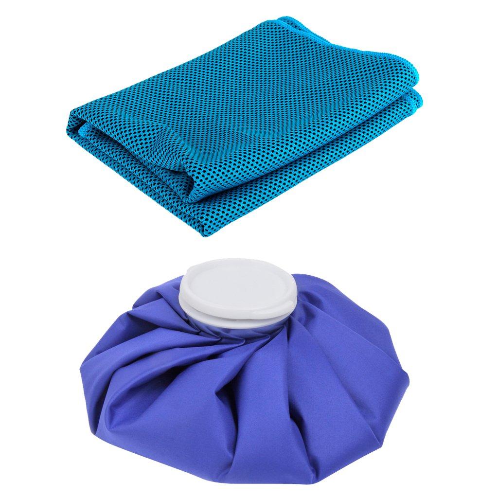 Sharplace 11 Pulgadas Bolsa de Hielo + Enfriamiento Toalla de Hielo Accesorios para Deportes Gimnasio de Yoga al Aire Libre Ejercicio