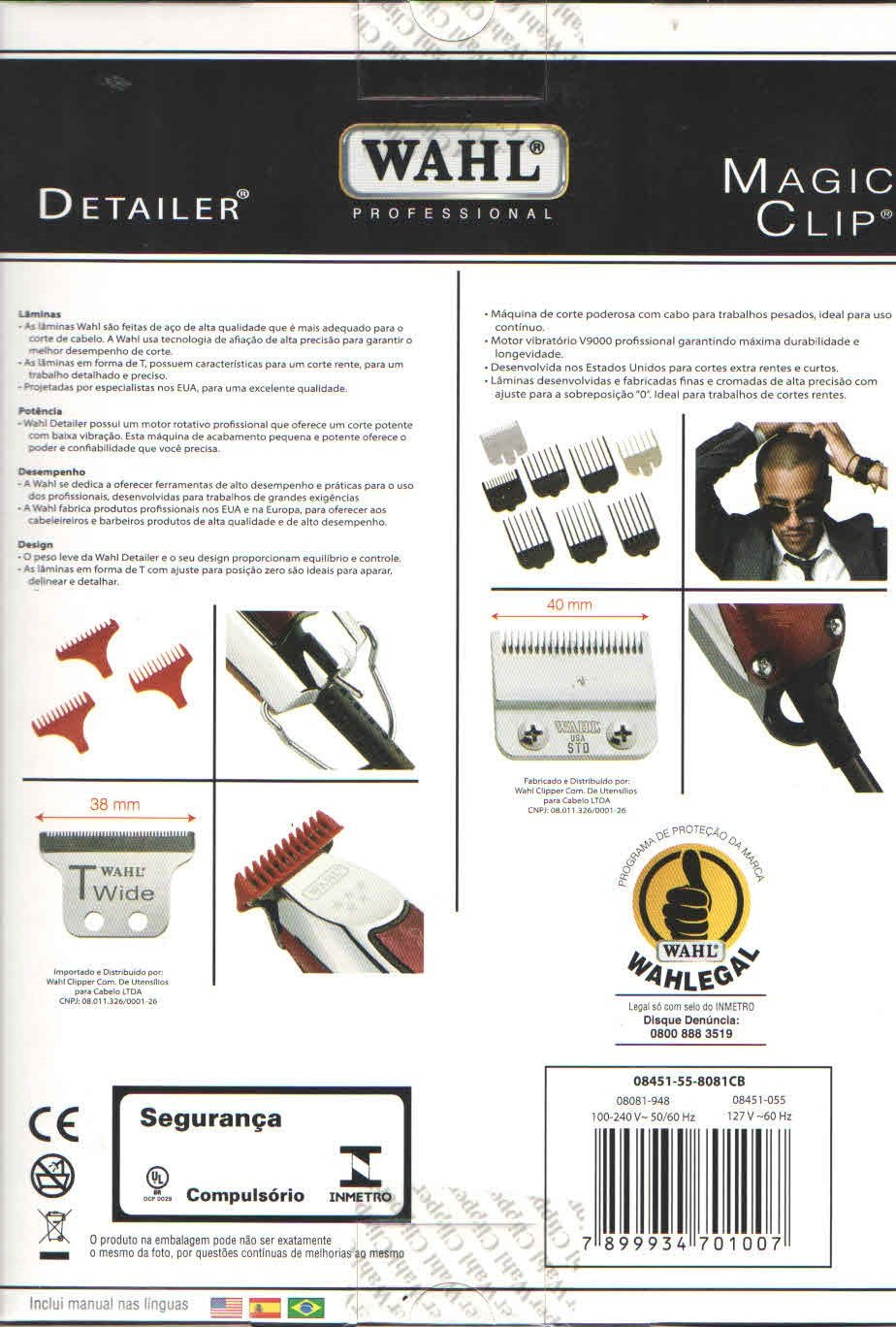 c05249fc5 Combo Wahl - Magic Clip 110V + Detalier T Wide: Amazon.com.br: Eletrônicos