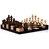 """AMBRIZZOLA Scala Wooden Chess Gift Set (3D Chessboard with 3"""" Chess Pieces)"""