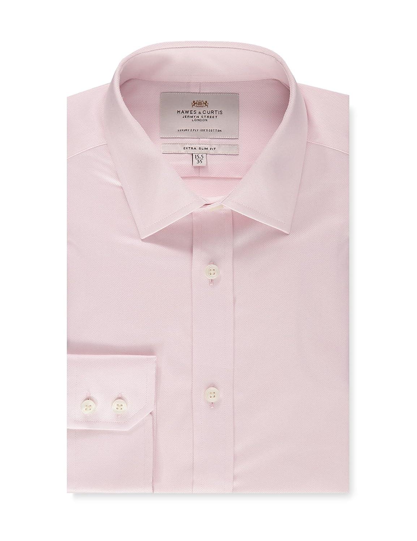 Hawes Curtis Mens Pink Textured Extra Slim Fit Dress Shirt