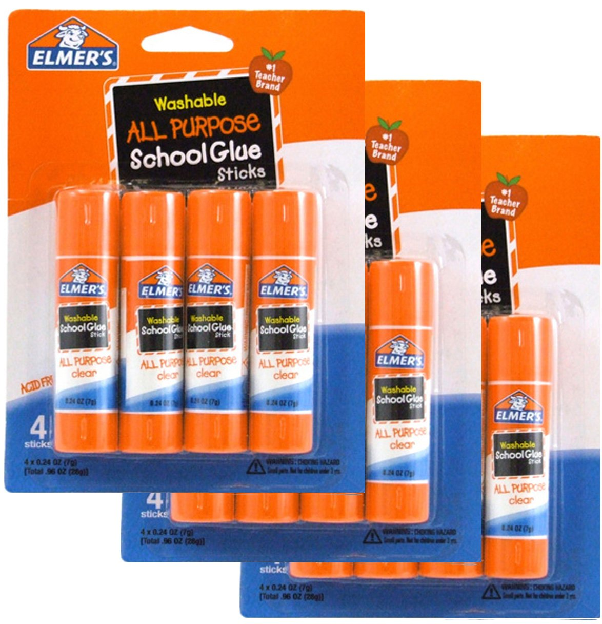 Washable All Purpose School Glue Sticks (4 Pack) [Set of 3] by Elmer's Products Inc Elmer' s Products Inc OP-11290