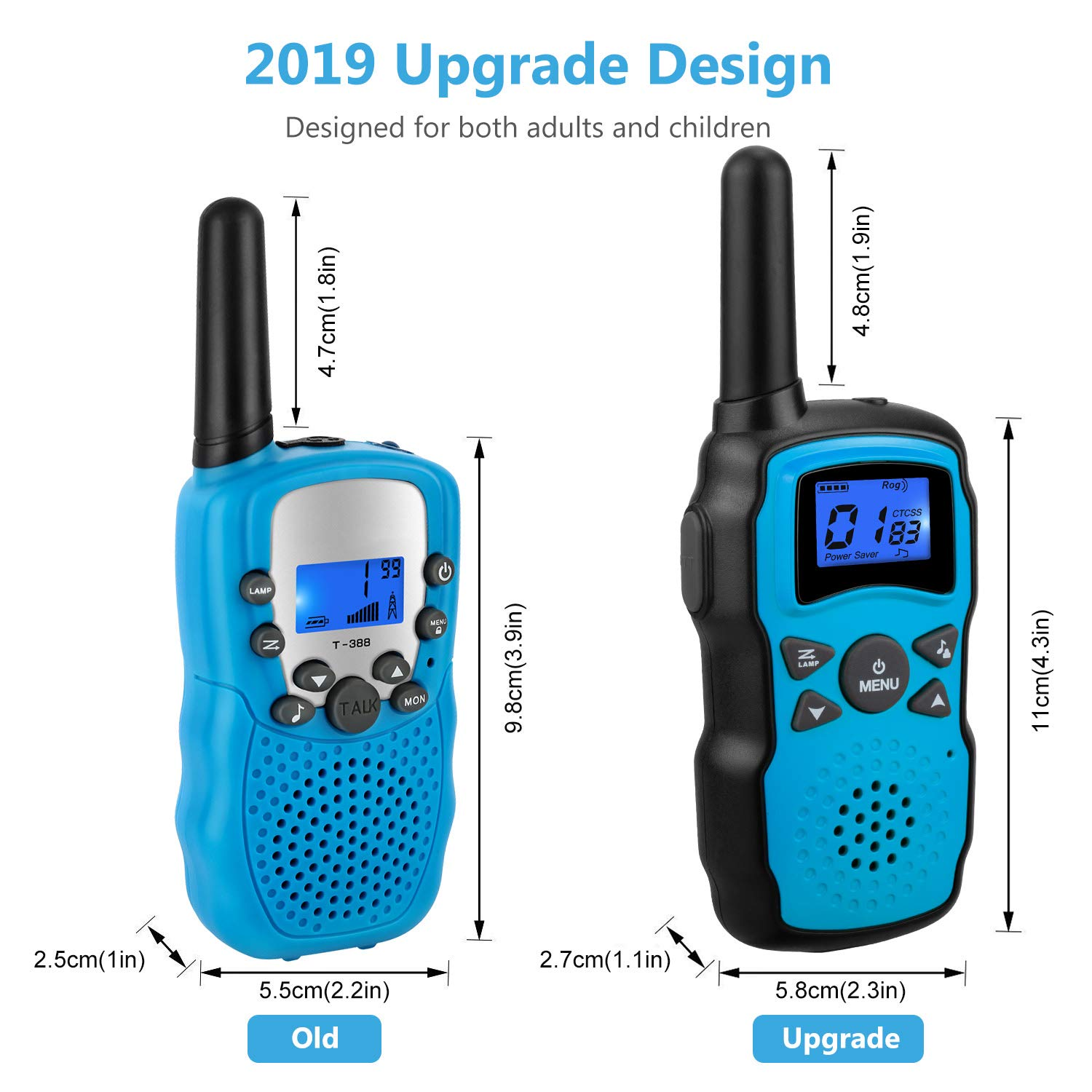Wishouse 2 Rechargeable Walkie Talkies for Kids with Charger Battery, Two Way Radio Family Talkabout for Adult Cruise Ship Long Range, Outdoor Camping Hiking Fun Toys Birthday Gift for Girls Boys Blue by Wishouse (Image #4)