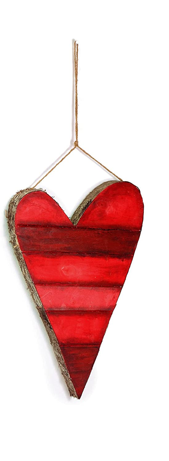 Hanging Ornaments Medium 3 Sizes Rustic Red Striped Heart Valentines Day Decorations