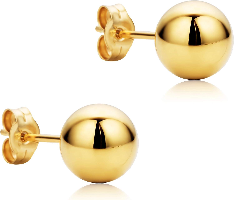 Orovi Pendientes Señora Esfera presión en Oro Amarillo Oro 18 kt /750