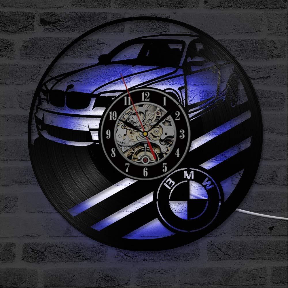Mchoff Reloj de Pared con Disco LED de Vinilo para Auto BMW - Decora tu hogar con Arte Moderno. Regalo para Hombres y Mujeres, niñas y niños.