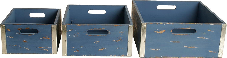 Wald Imports 8139/BL Set of 3 Wood Crates, Blue, 3 Set