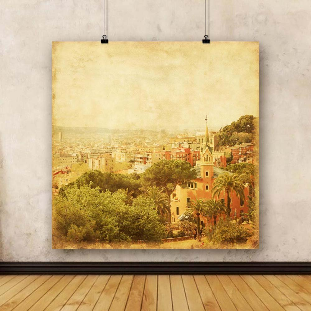 Pitaara Box Barcelona from Spain Park Guell, Spain from Unframed Canvas Painting 37.4 x 37.4inch e317f5