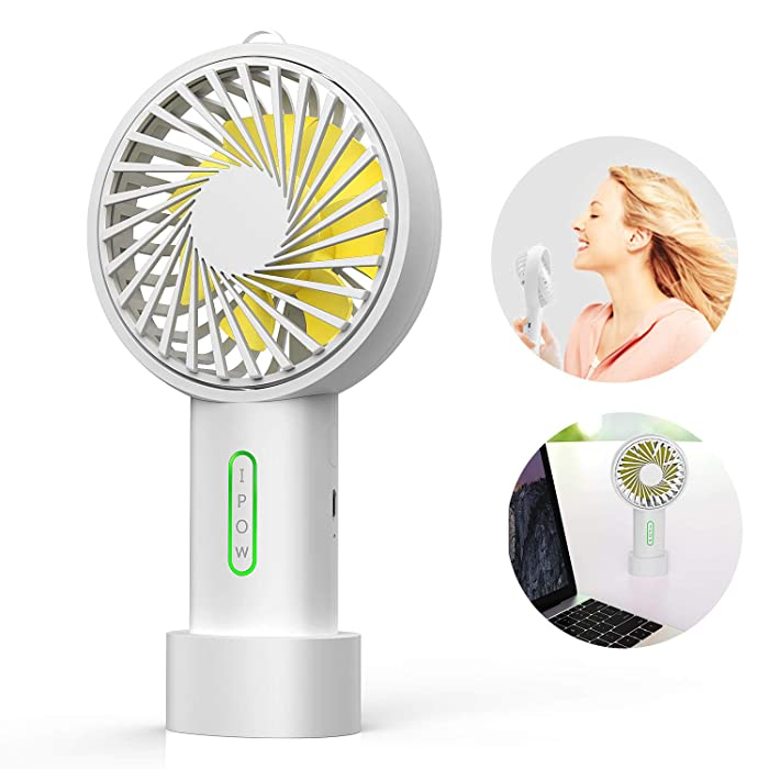 IPOW Mini Handheld Fan Personal Portable Fan 3 Speed Adjustable Angle Removable Base Lanyard USB Recharging Battery Operated Small Desk Cooling Face Fan for Home Camping Disney Travel ICY White
