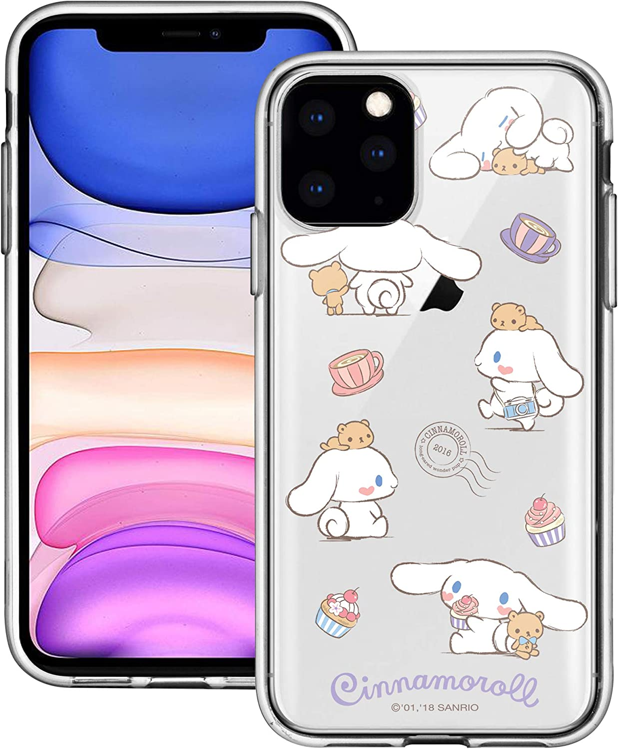 WiLLBee Compatible with iPhone 12 Pro Case/Compatible with iPhone 12 Case (6.1inch) Sanrio Cute Border Clear Jelly Cover - Play Cinnamoroll