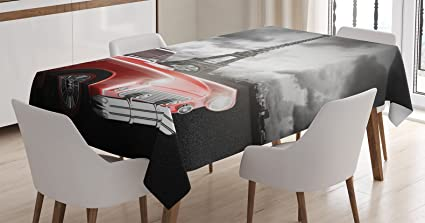Charmant Ambesonne Paris Decor Tablecloth, Fancy Vintage Car With Tour Eiffel In  Cold Cloudy Day Romantic