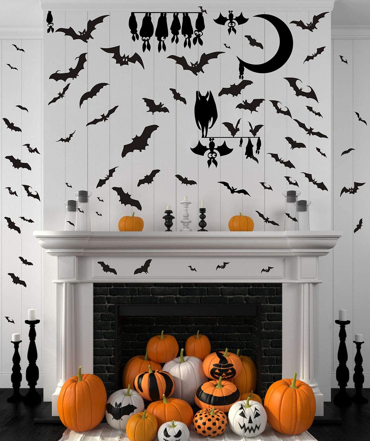 Halloween Bats Wall Decals Halloween Party Decorations Halloween Window Clings Decorations Bats Decals Halloween Cartoon Bat Sticker Removable and Peel&Stick Decals