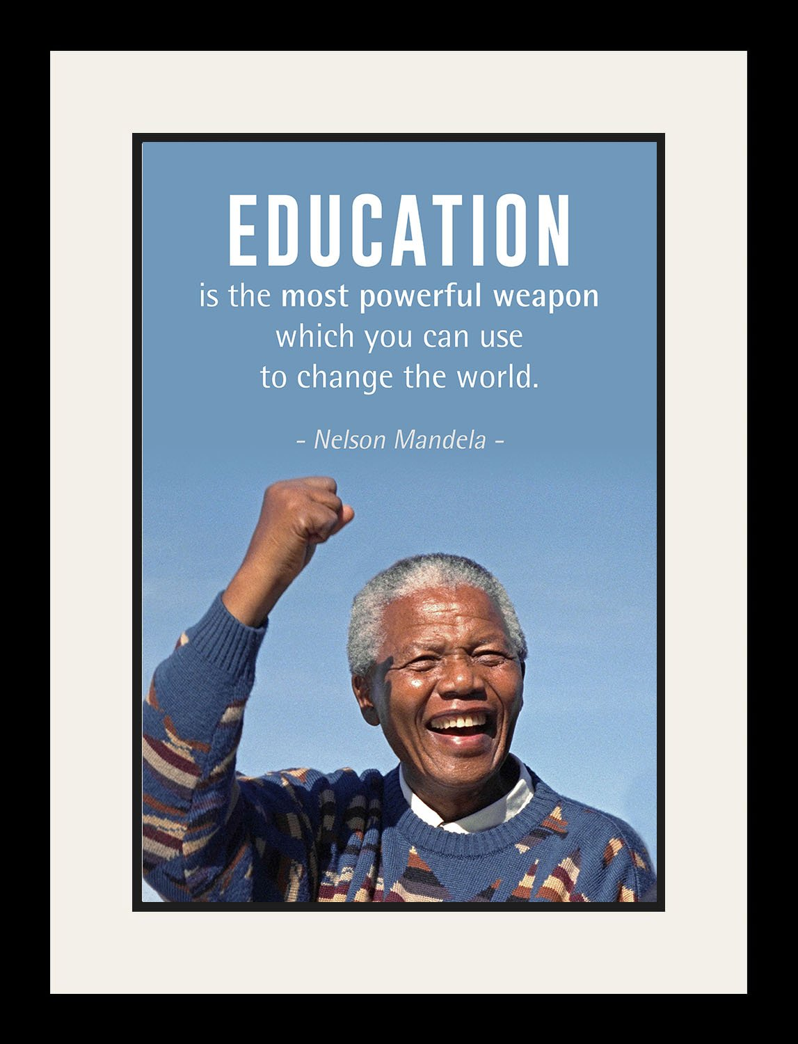 Nelson Mandela Quote ''Education is the most powerful weapon'' | Motivational Poster, Print, Picture or Framed Wall Art Decor - Inspirational Quotes Collection - Christmas Gifts (19x25 Framed)