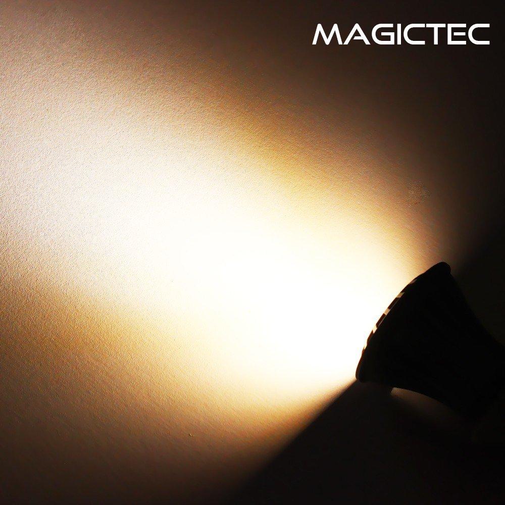 2 Pack Warm Light 2-in-1 Adjustable 4 LED Wall//Landscape Solar Lights with Automatic On//Off Sensor Magictec Solar Spotlights