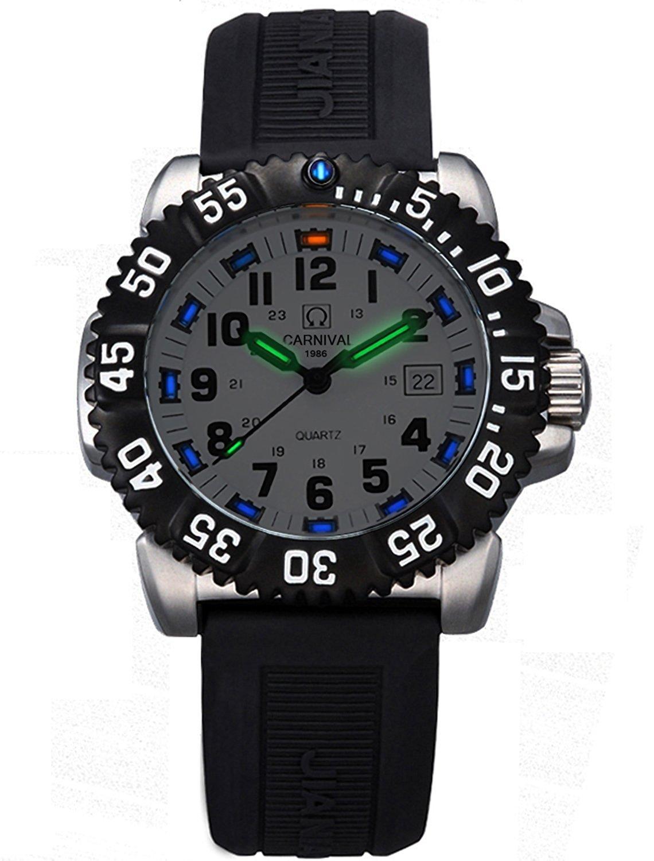 メンズTritium光回転式ベゼルステンレススチールCase Rubber Band Militaryクォーツ防水腕時計 ホワイト B076MMD712 ホワイト ホワイト