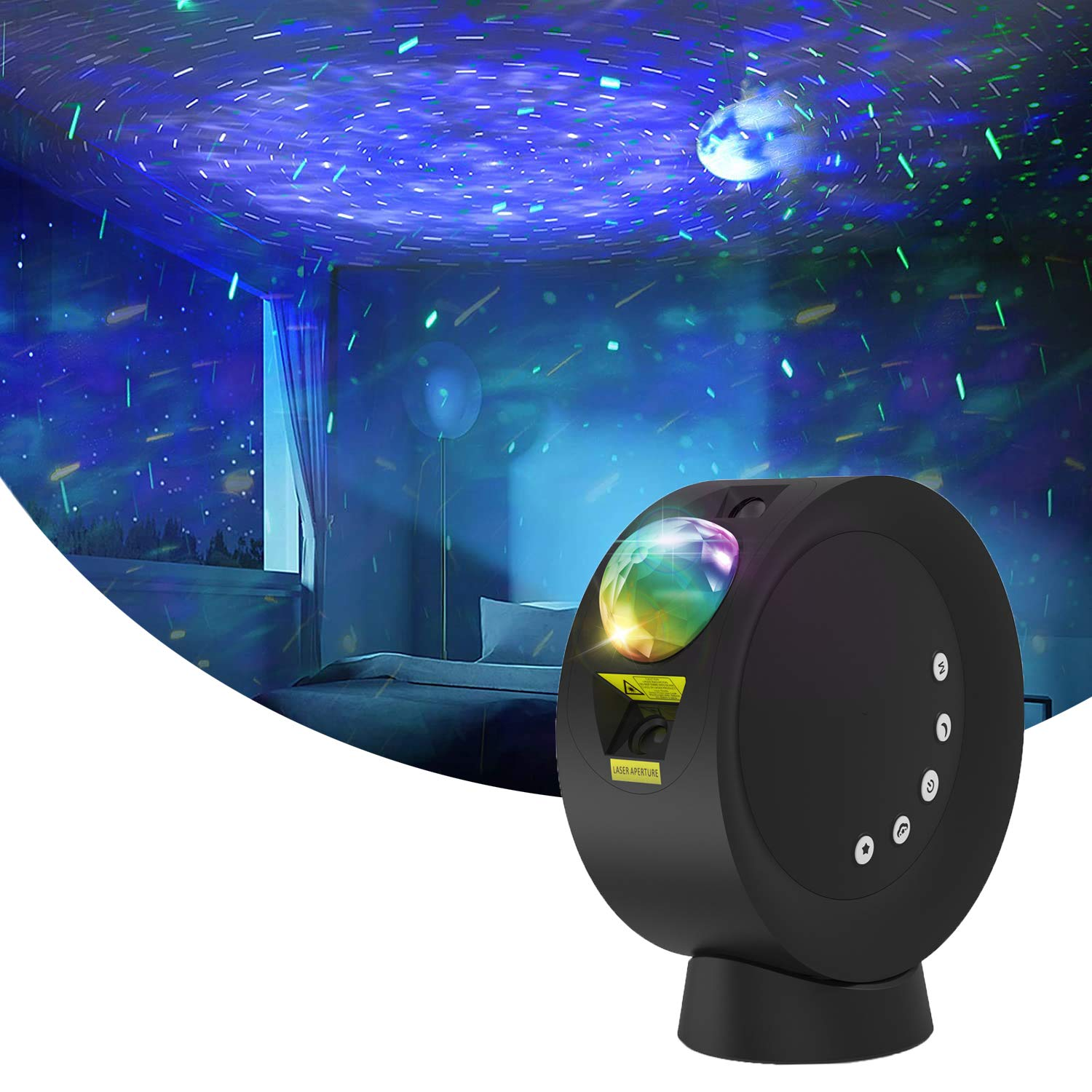 Star Projector Night Light, Winique Nebula Moon Night Light w/Base & Remote Control, 4000mAh Battery Operated LED Galaxy Projector Lamp, 9 Lighting Modes for Bedroom, Party, Home Decor, Black