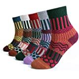 5 Pairs Women Winter Knitting Thicken Warm Cotton Socks Thermal Socks Assorted Patterns UK 4-6.5 EU 35-39