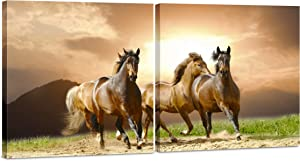 Canvas Wall Art Decor - 24x24 2 Piece Set (Total 24x48 inch)- Triple Horse - Wildlife - Decorative & Modern Multi Panel Split Canvas Prints for Dining & Living Room, Kitchen, Bedroom & Office