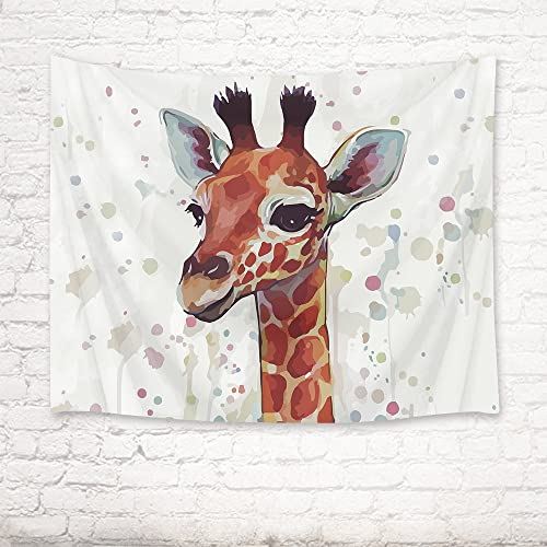 HVEST Giraffe Tapestry Watercolor Cute Giraffe Wall Hanging Wild Animal Tapestries for Kids Bedroom Living Room Dorm Party Decor,92.5Wx70.9H inches