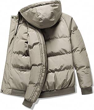 メンズコットン服、カジュアルでシンプル、フード付き、厚手、メンズジャケット