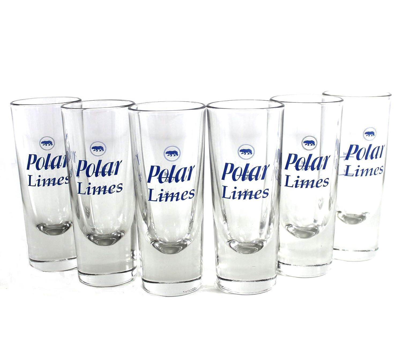 Polar Limes Gl/äser 6er Set Lik/ör-Glas Eichung bei 2 /& 4 cl ~mn 883 0915