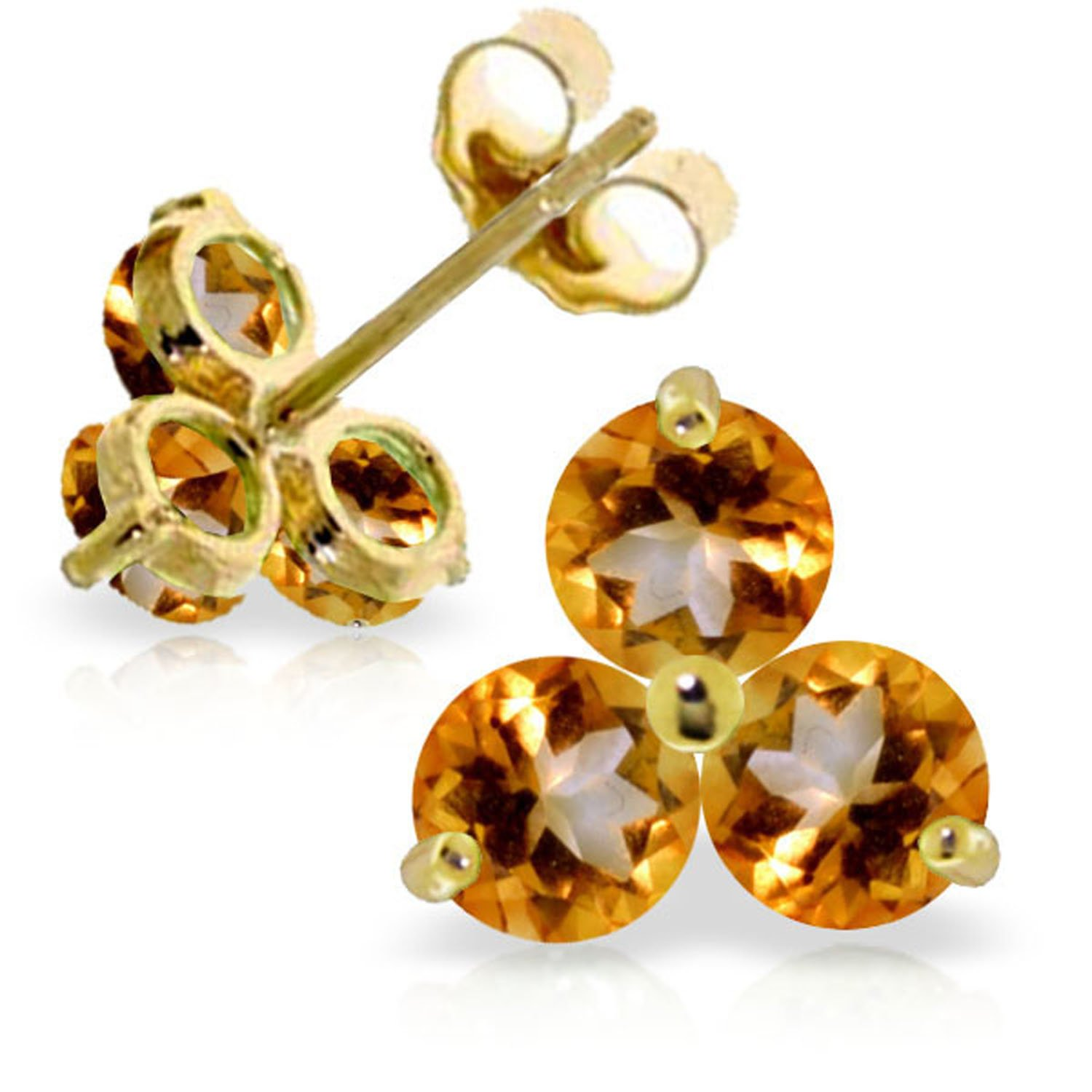 1.5 Carat 14K Solid Gold Summer Is Sister Citrine Earrings
