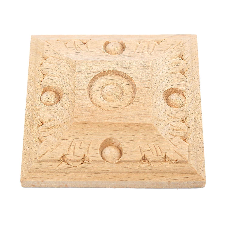 1pc 1# Holz Skulptur quadratische Corner Flourish Blumen Muster Onlay Unpainted T/ür Europ/äischer Stil