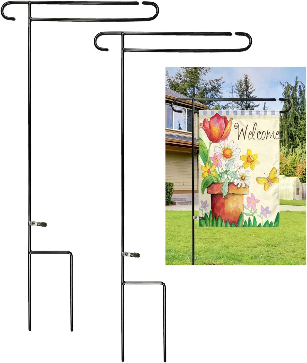 Luckupper 2 Packs Garden Flag Holder Stand One-Piece Heavy Duty Metal Yard Flag Pole for Outdoor Decorative Flags 12.5 X 18 Prime with Free Clip,Black