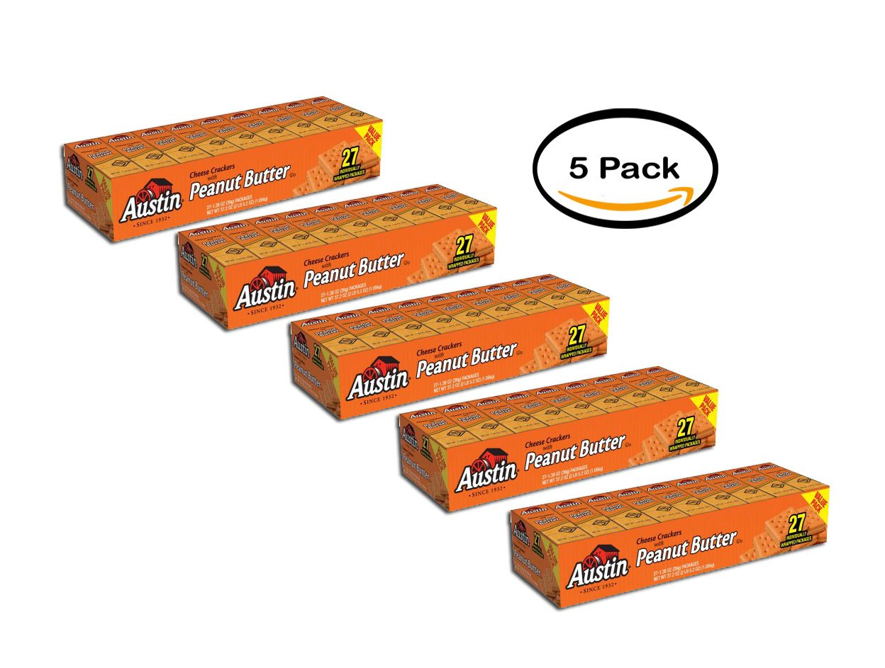 PACK OF 5 - Austin Cheese Crackers with Peanut Butter, 1.38 oz, 27 count
