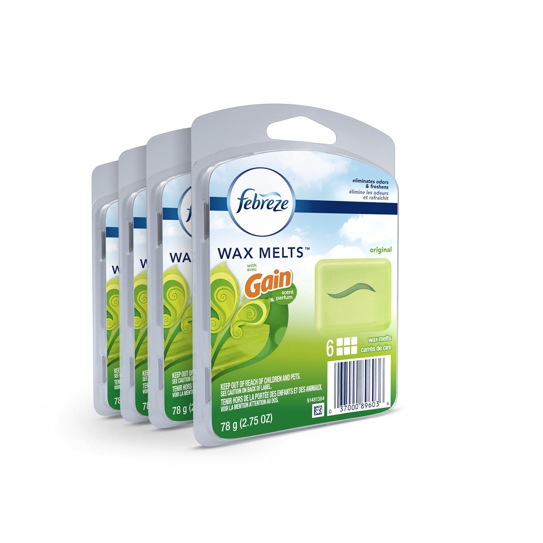 Febreze Wax Melts Air Freshener, Gain Original Scent, (4 Packs, 6 Count Each)