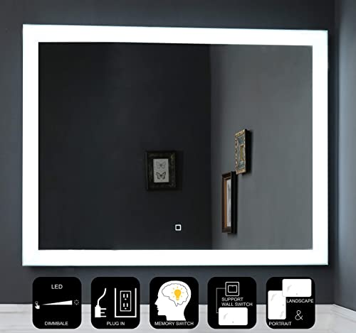 JOVOL Dimmable LED Lighted Bathroom Mirror Wall Mounted Vanity Mirror Dimmable Touch Switch 6500K High Lumen LED True Color CRI 90 Vertical Horizontal Installation Phoebe-3628 36×28 inch