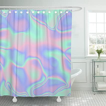 Amazon Emvency Shower Curtain Pink Hologram Holographic Waves