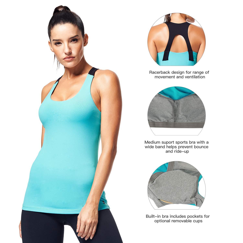 b53d3c07d39a76 Amazon.com  Matymats Women s Yoga Tank Top Built in Shelf Bra Sleeveless  Running Workout T-Shirt Dry Fit  Sports   Outdoors