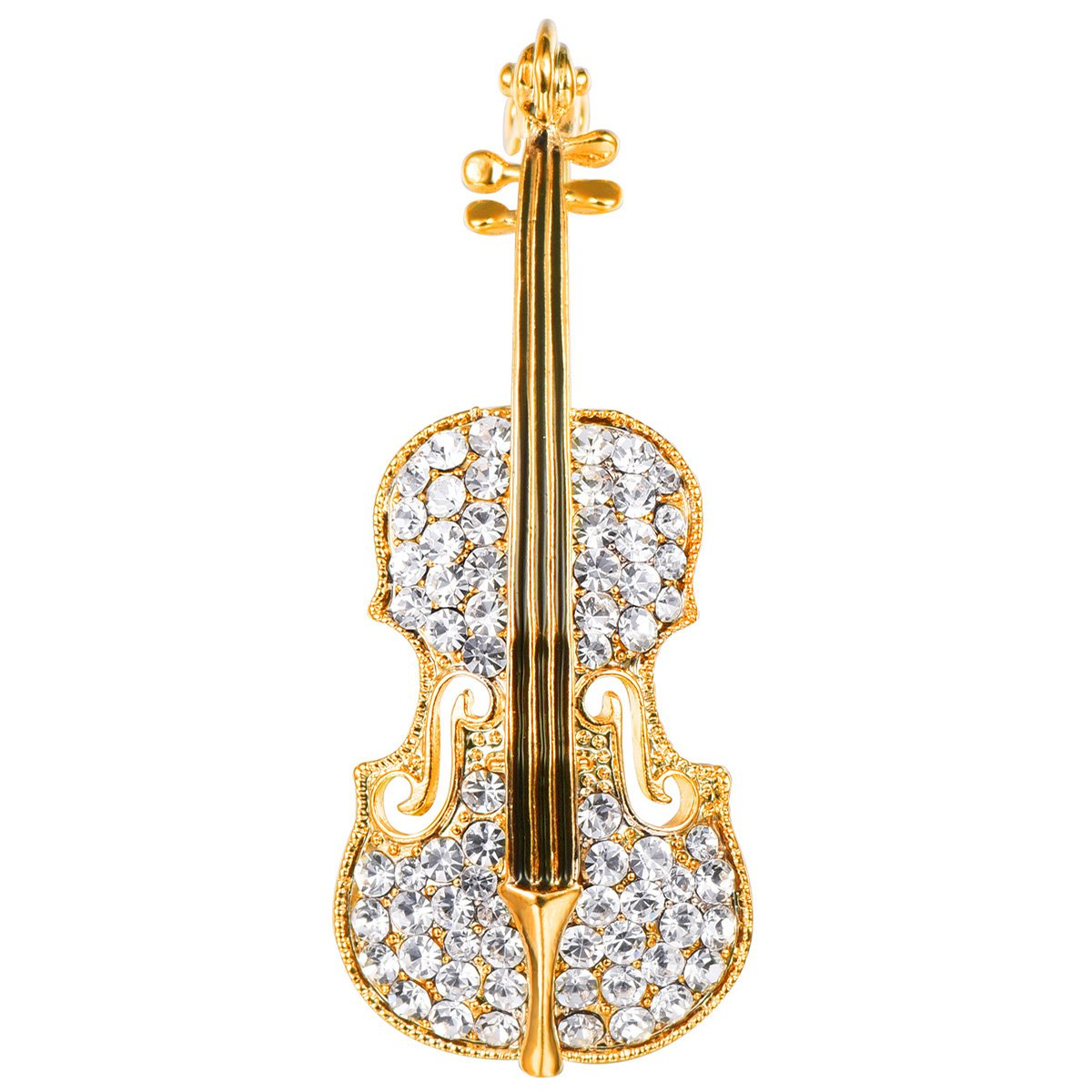 FOCALOOK Violin Brooch Charm Art Deco Jewelry Lapel Pin Clear Crystal Rhinestone Gold Plated Luxury Bling Cute Musical Brooch