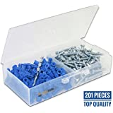 """Ribbed Plastic Drywall Anchor Kit with Screws and Masonry Drill Bit, #10-12 x 1"""""""