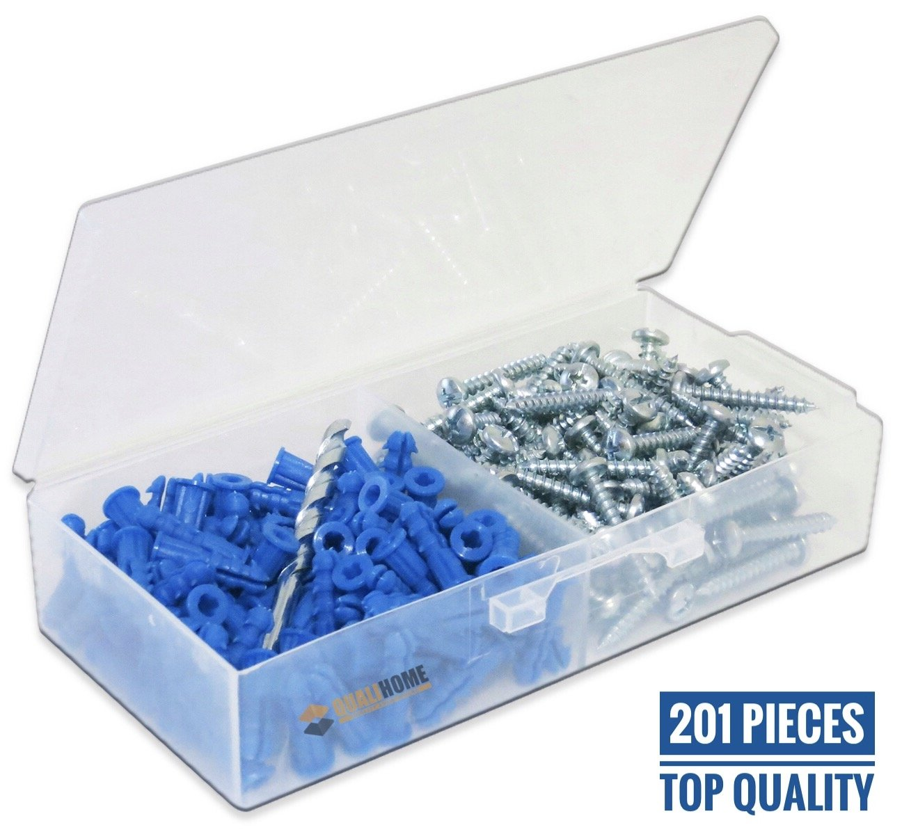 Ribbed Plastic Drywall Anchor Kit with Screws and Masonry Drill Bit, #10-12 x 1''