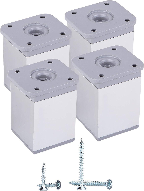 viti incluse 4, 6 cm di altezza alluminio materiale: plastica Piedini angolari regolabili in altezza 40 x 40 mm