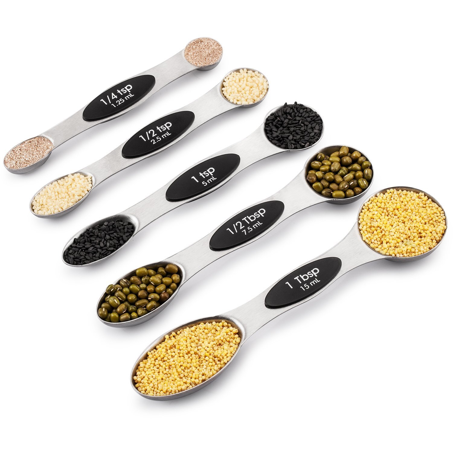 MZCH Measuring Spoons, Double Sided Magnetic Baking and Cooking Kitchen Set, Fits in Spice Jar, Set of 5, Black