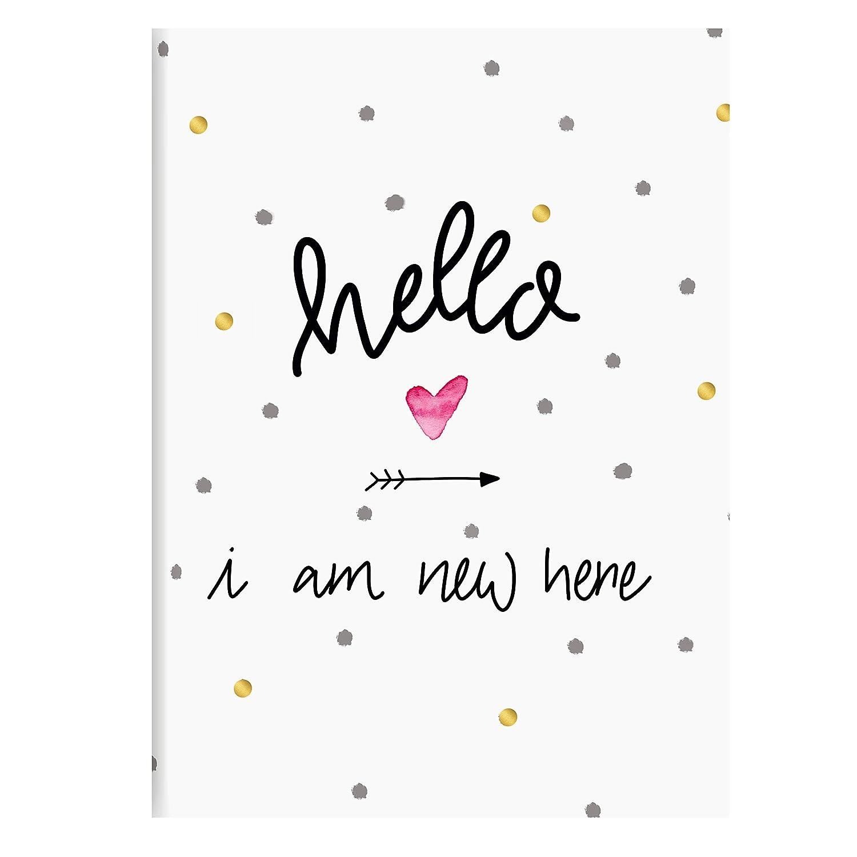 Goldbuch Babytagebuch, Hello i am New here, 21 x 28 cm, 44 illustrierte Seiten, Kunstdruck, Weiß/Gold, 11 319