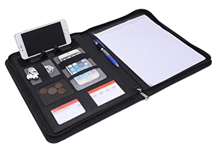 Carpeta Portadocumentos A4 con Cremallera,Carpeta Agenda Organizador Oficina Portafolio Padfolio de piel A4 Tablet Titular Carpeta de Conferencias de ...