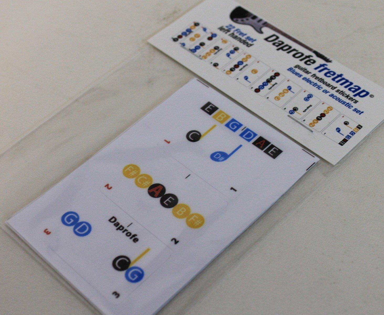 daprofe zurdos aprender guitarra blues Nota trastes diapasón mapa escalas extraíble pegatinas de vinilo para eléctrica y cuerdas de acero: Amazon.es: ...