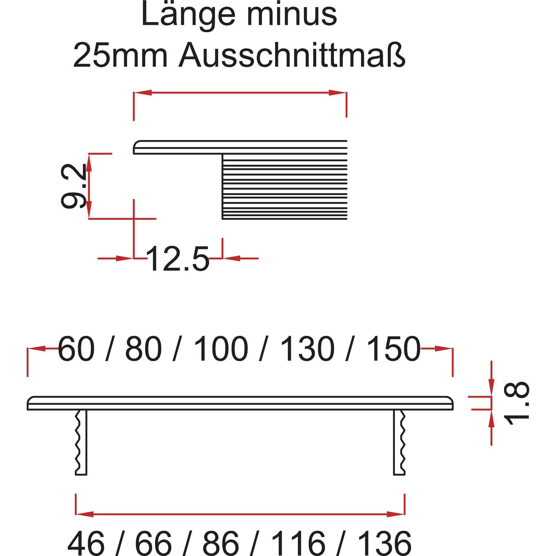 Oberfl/äche Alu Titan//Edelstahl Effekt 1 St/ück SECOTEC L/üftungsgitter 60 x 600 mm