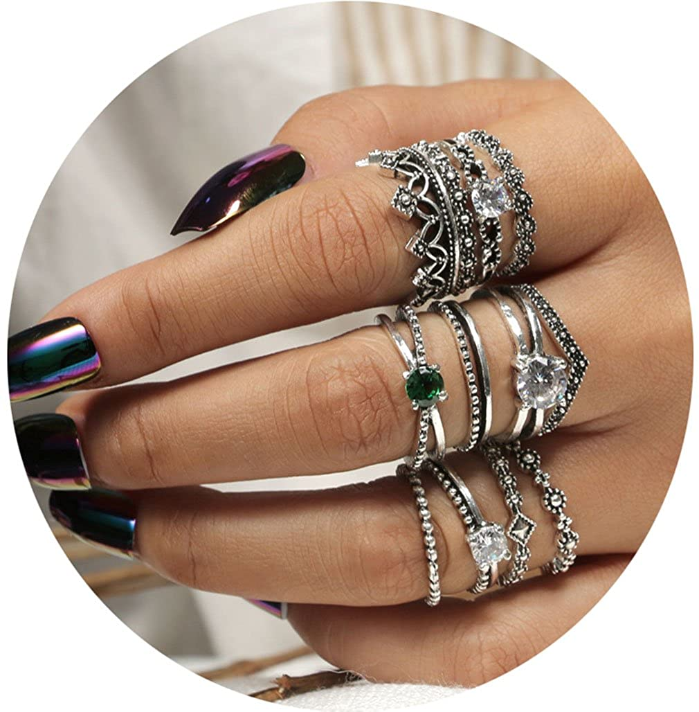 Tuccpai Fashion Rings Set Boho Knuckle Stackable Rings Set For Women Girls 9-13Pcs/Set B07537TL4F_US