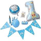 (ADOSSY) 誕生日 パーティ 誕生日会 飾り付け デコレーション 飾り 1歳 ファースト バースデー ポシェット付き(11点 セット, ブルー)