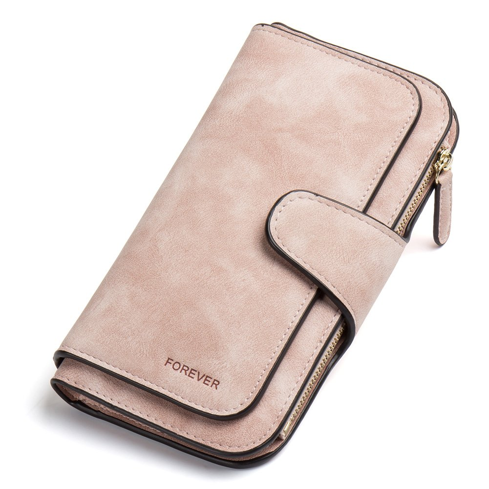 RFID Blocking Mattee Leather Wallet for Women Clutch Purse Bifold Long Designer Ladies Checkbook Multi Credit Card Holder Organizer with Coin Zipper Pocket Light Pink
