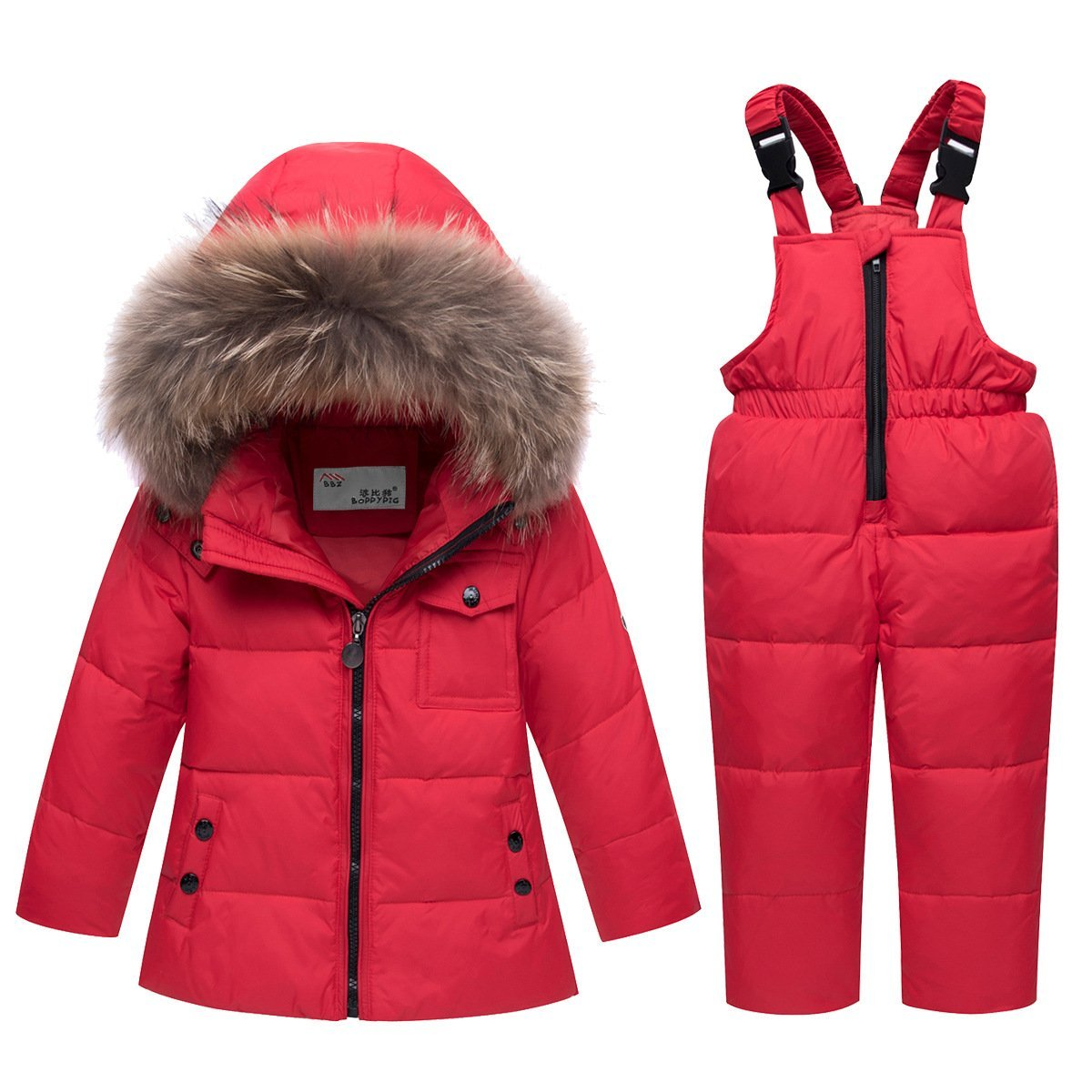 CADong Little Unisex Baby Two Piece Puffer Down Winter Warm Snowsuit Jacket with Snow Ski Bib Pants