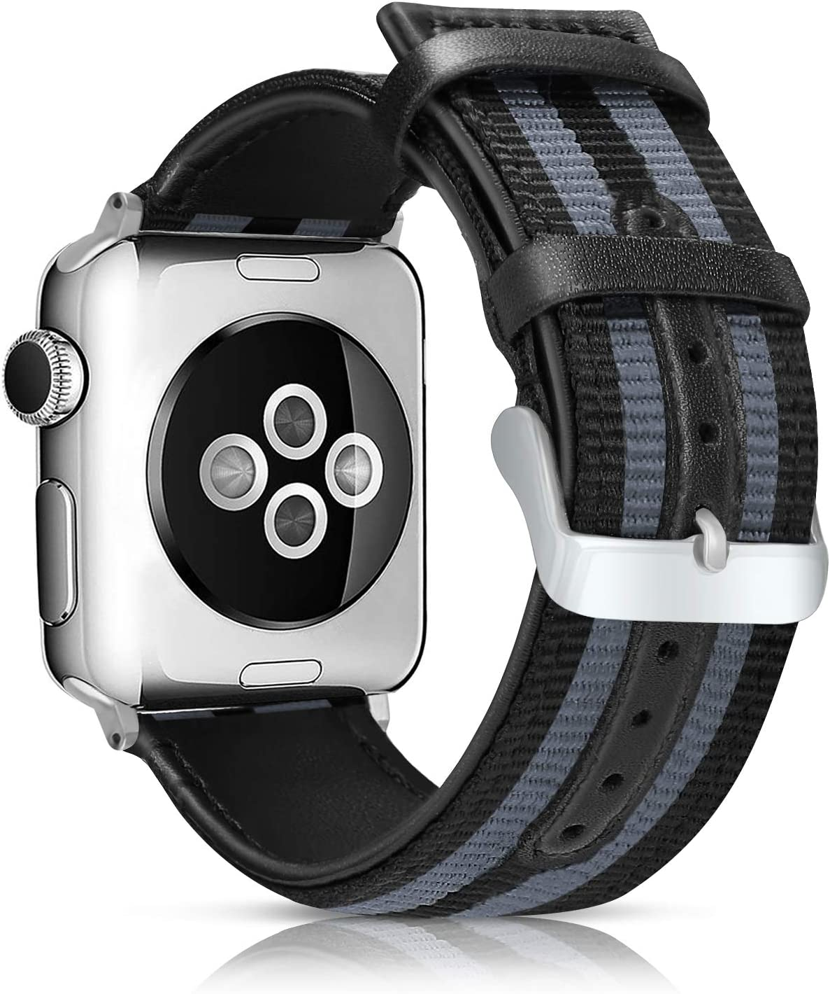 LBYZCAS Sport Wrist Band Compatible for Apple Watch 38MM 40MM,Soft and Breathable Nylon with Genuine Leather Replacement Band Strap Compatible for iWatch Series 5 4 3 2 1 for Women Men