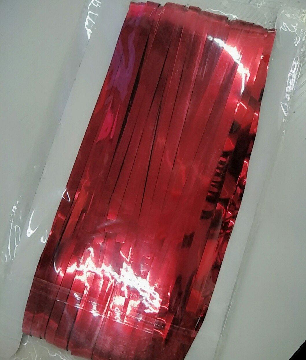 ShinyBeauty Foil Fringe Backdrop-6FTX8FT,Metallic Tinsel Foil Fringe Curtain Door Window Decoration-Red