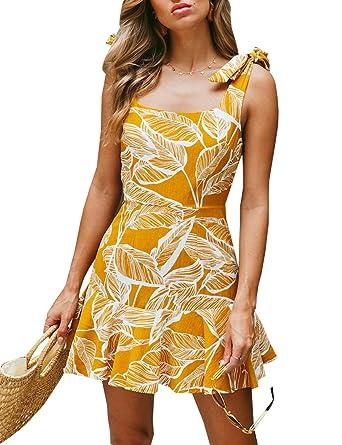 367f1cd4b859 BMJL Women s Dress Sleeveless Tie Side Boat Neck Backless Ruffle Hemline  Floral Tropical Print Ladies Summer